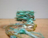 miami beach fiber effects . art yarn bundle 12yds . aqua blue, sandy beige, beach color palette