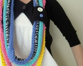 hoola hoops. knit infinity scarf crochet cowl fiber art necklace . black white pink yellow turquoise . fall fashion winter accessories