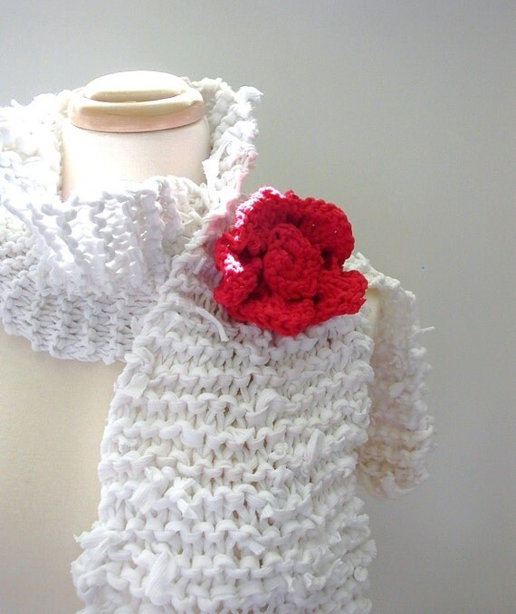 White Hot Summer Recycled T-Shirt Handknit Scarf with a bright Red Poppy Flower Pin . Eco-Friendly, Reclaimed, Repurposed
