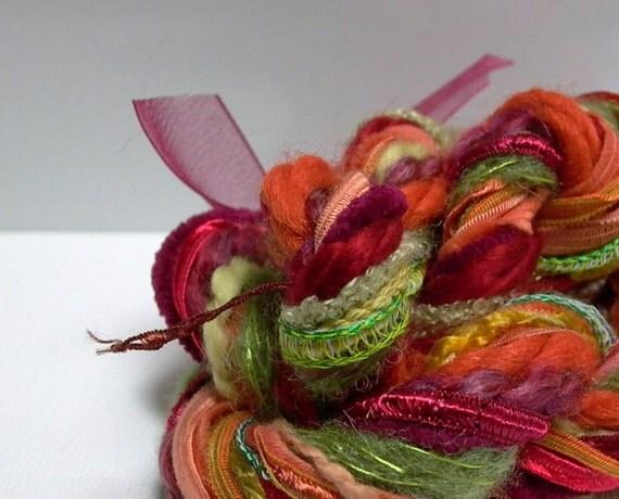 Vegetable Patch Fringe Effects . art yarn bundle 20yds . tomato, squash, eggplant, carrot, lettuce, herbs