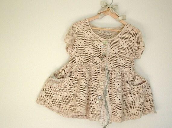 womens oversized babydoll jacket . upcycled clothing tea-stained tattered shabby chic french market cotton overtop