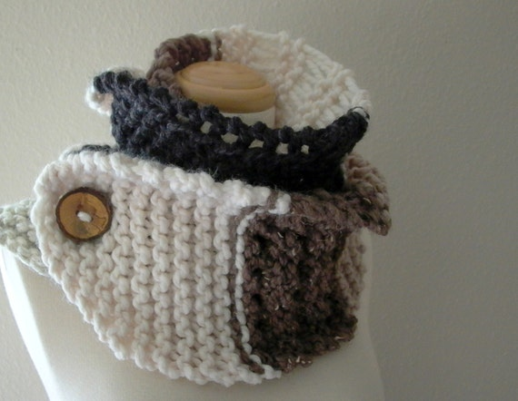 RESERVED for Trisha . 2 neutral territory chunky knit cowl neck button scarves