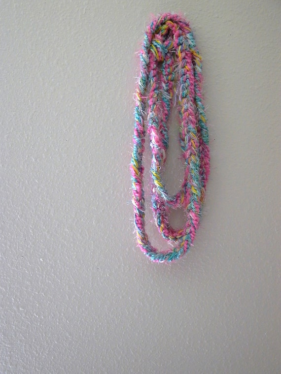 just got lei(d). long skinny crochet scarf lariat belt fiber necklace . tropical bohemian gypsy vegan fashion accessories . pink aqua yellow