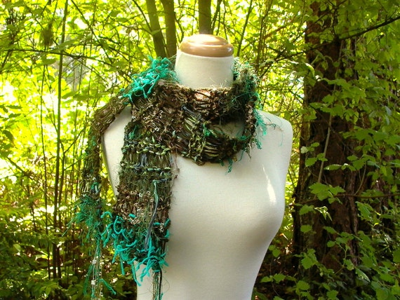gilded forest. handknit scarf vegan knitwear enchanted mori girl fall fashion autumn accessories pine moss teal green gold bronze