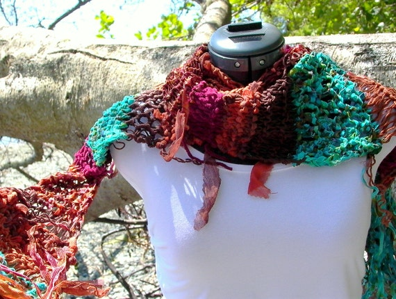 Fall (ing) for Sedona . eco-friendly scarf in brown, rust, and turquoise