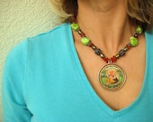 Necklace Handpainted Ganesh With Silver Green Turquoise Pearls Amber Ethnic