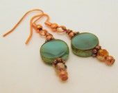 Earrings Green Round Glass and Copper  - Handmade