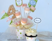 Reusable Cupcake Wrappers for Bridal Showers, Baby Showers, Birthday Parties & Weddings - 24 Pink, Green, Red cupcake wraps