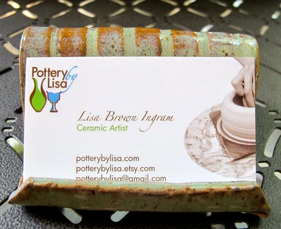 Textured Green Business Card Holder