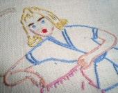 SALE Mint Vintage 1940s Linen Towel Blonde Espadrilles HERS