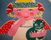 Mint Vintage Mid Century Swedish Tablecloth Lucia Kitten