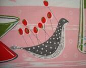 Vintage Tablecloth Party Scene Bird Tableware MCM