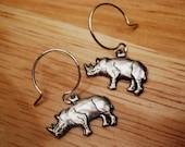 Silver Rhino Earrings