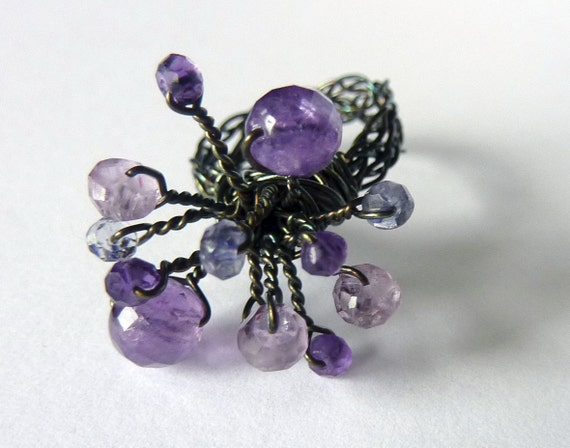 Oxidized Amethyst and Iolite Anemone Sculpture Ring - Size 8