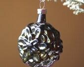 Dark Green Flower Vintage Glass Christmas Ornament