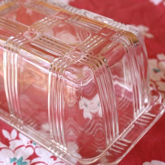 Criss Cross 1 pound Clear Glass Butter Dish by Hazel Atlas