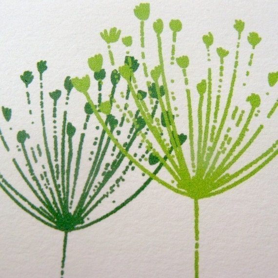 Green Flowers - Printable Note Card, Gift Card, and Stationery Set