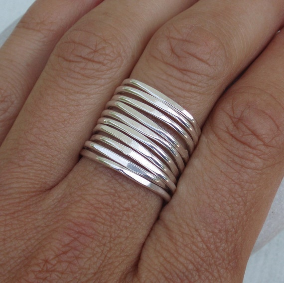 Square Silver Stack...Set of Ten Sterling Silver Stacking Rings