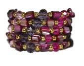 WOMEN'S JEWELRY: Bracelet Gold Pink Purple Shell Beaded Wrap