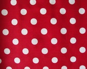 Cotton Fabric, Red with Large White Polka Dots