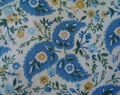 Cotton Upholstery Paisley Floral Fabric, French Blue, Shabby Chic