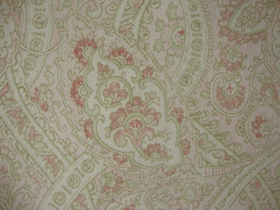 Cotton Upholstery Fabric, Ralph Lauren, Paisley, Soft Pink, Cream and Soft Green