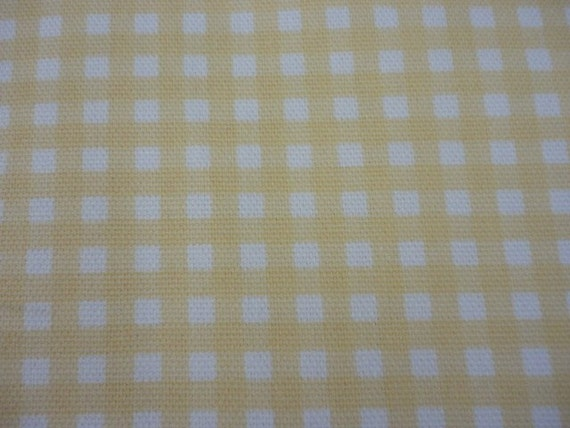 Cotton Upholstery Fabric, Soft Yellow and White Small Check