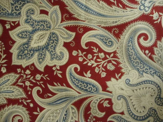 Cotton Upholstery Fabric Blue And Rustic Red By