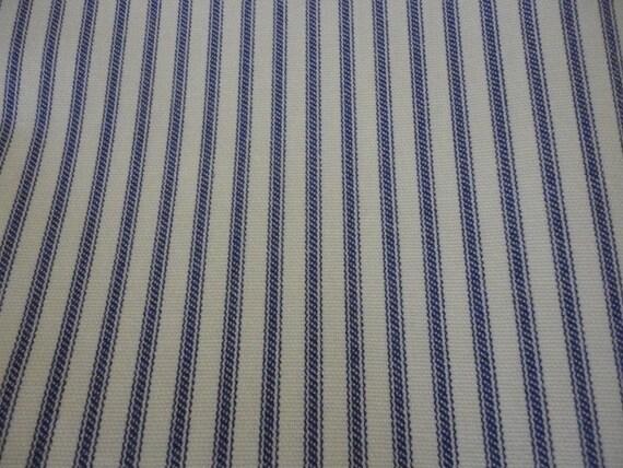 Cotton Upholstery Fabric, Indigo Blue and Cream Stripe