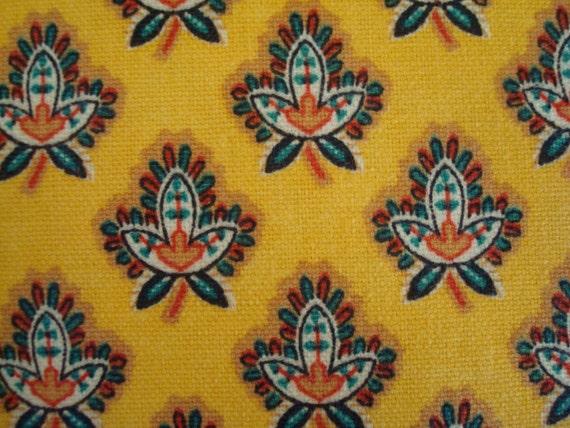 Cotton Upholstery Fabric, GoldenRod Yellow Leaf Design, 1 Yard