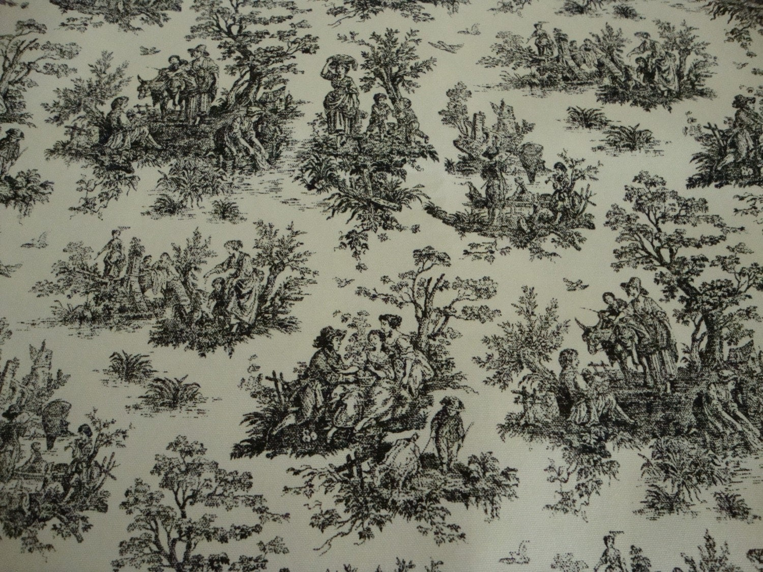 Cotton upholstery fabric french toile design black with for French toile fabric