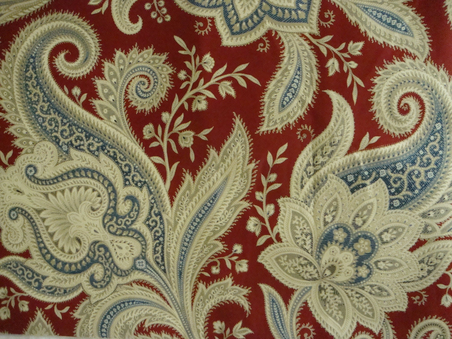 Cotton Upholstery Fabric Blue And Rustic Red Paisley Floral