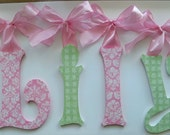 Baby Nursery Wall Letters Custom Boutique Nursery Hanging Handpainted Wood Letters Any Decor or Design To Match GLITTER and SPARKLE