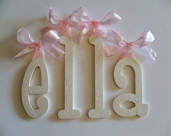 Nursery Letters for Kids Room Nursery Wall Letters Name Sign Wooden Wall Letters GLITTER letters