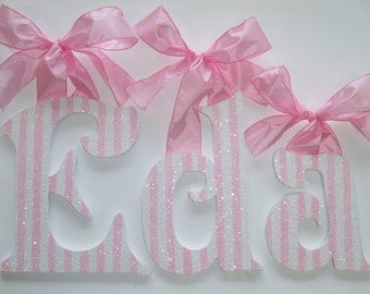 GLITTER and SPARKLE Pink and White Stripe Wall Letters - Baby Nursery Letters