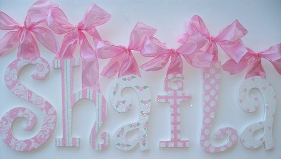 GLITTER and SPARKLE Custom Hand Painted Decorative Wooden Wall Letters