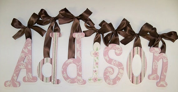 GLITTER and SPARKLE - Hand Painted - Custom Wooden Wall Letters -  Brown and Rose Pink