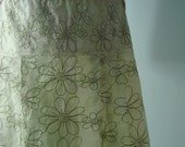 SALE Green Daisy Linen Skirt