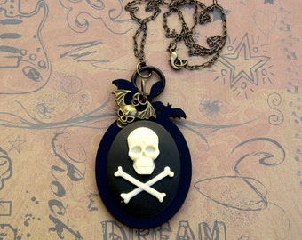 Skull and Crossbones with Bats and Winged Flying Skull Necklace black and ivory Gasparilla pirate edgy rocker chic