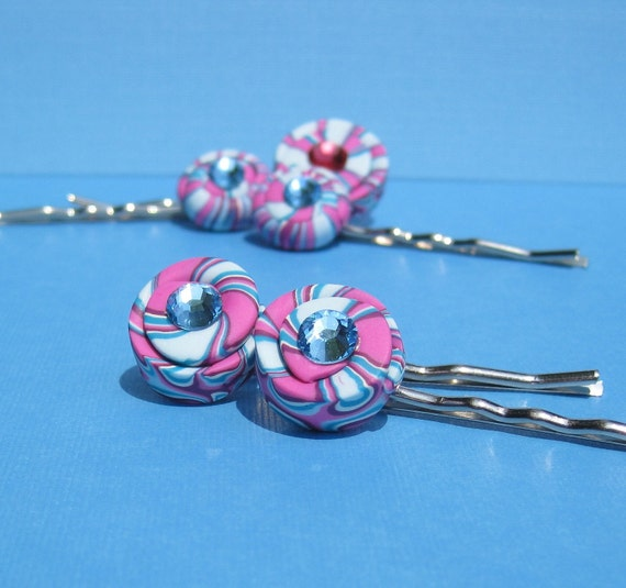 Lollipop Candy hair pins with Swarovski crystals - set of 2