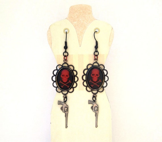 Skull and Crossbones pirate earrings with guns silver ox, red, and black