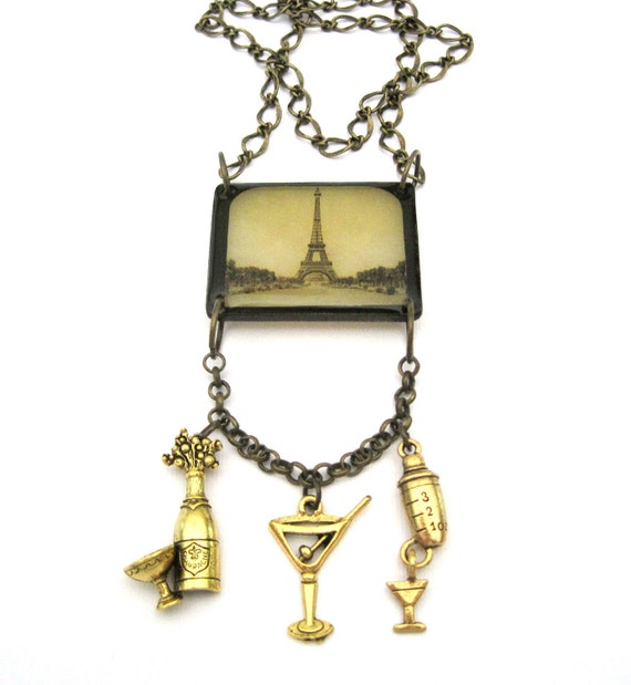 Cocktails in Paris Vintage Look Charm Necklace with Eiffel Tower champagne bottle martini glass cocktail shaker France French