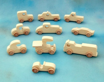 Wood Toy Cars and Trucks - Set of 10 Natural Wooden Toy Vehicles - Great Party Favors - Fun for Children and Toddlers