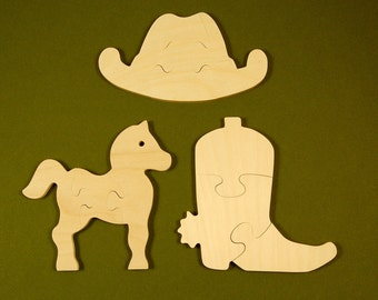 Cowboy Cowgirl Party Favors - Package of 12 Childrens Wood Puzzles - Great for Kids and Toddlers Partys