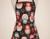 Ladies Classic Apron - Babushka Russian Dolls - Black