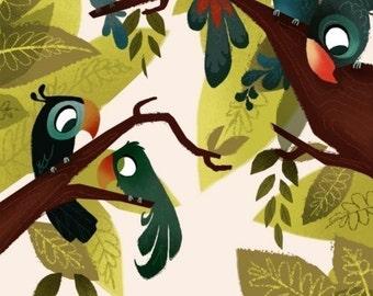 Exotic Birds Print