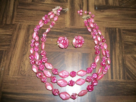 1960s Pink Beaded  Triple Strand Necklace and Clip Earring Set