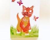 BOGOF SALE Kitten and Butterflies Greetings Card