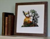 Stag and Bird Illustration Print