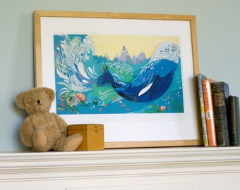 Whale in the Waves Illustration Print